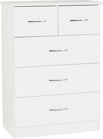 Picture of Nevada - 3+2 Drawer Chest - White Gloss