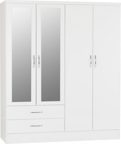 Picture of Nevada - 4 Door 2 Drawer Wardrobe - White Gloss