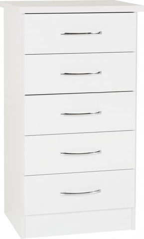 Picture of Nevada - 5 Drawer Narrow Chest - White Gloss