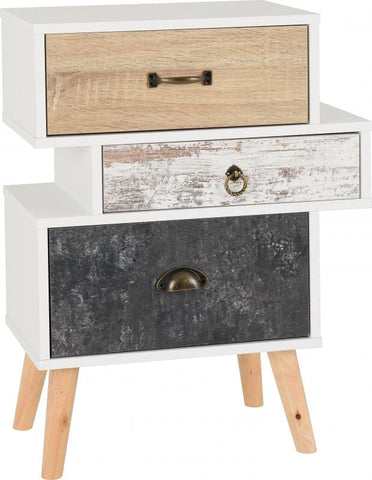 Picture of Nordic 3 Drawer Bedside Chest in White/Distressed Effect