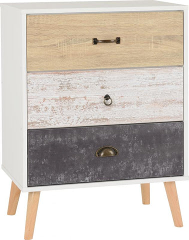 Picture of Nordic 3 Drawer Chest in White/Distressed Effect