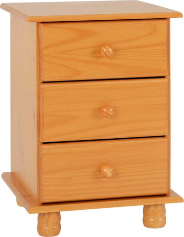 Picture of Sol 3 Drawer Bedside Chest in Antique Pine
