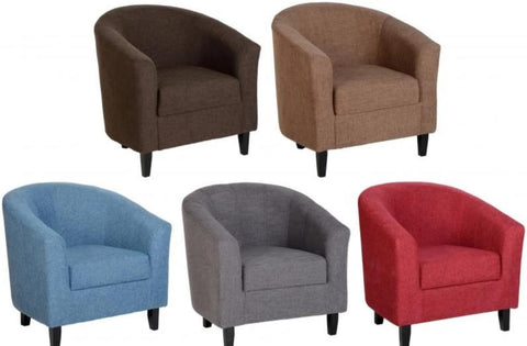 Picture of Tempo Tub Chair in Red/Blue/Brown/Grey/Sand Fabric