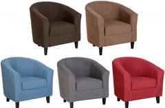 Tempo Tub Chair in Red/Blue/Brown/Grey/Sand Fabric