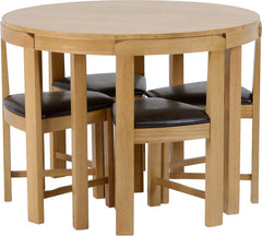 Windsor Stowaway Dining Set in Oak Varnish/Brown Faux Leather