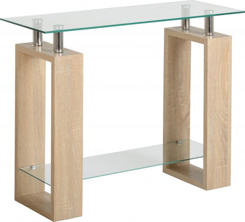 Picture of Milan Console Table in Sonoma Oak Effect Veneer/Clear Glass/Silver