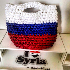 I love Syria's russian flag bag, made by displaced women in Damascus Syria.