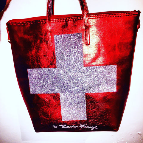 Swiss flag bag, with silver gliter cross 45*49 cm