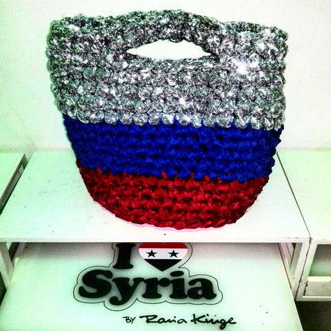 I love Syria, russian flag bag with gliter, made with love by displaced women in Damascus Syria