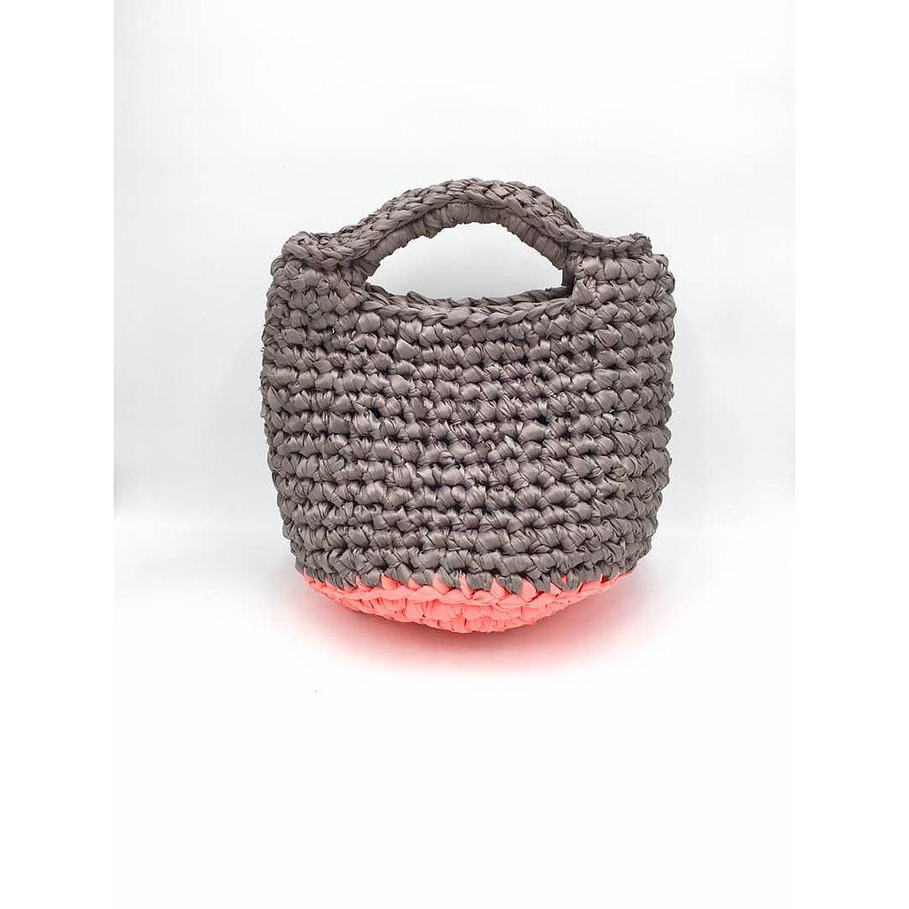 I love Syria - Bag Crochet - Grey and Fluorescent Coral