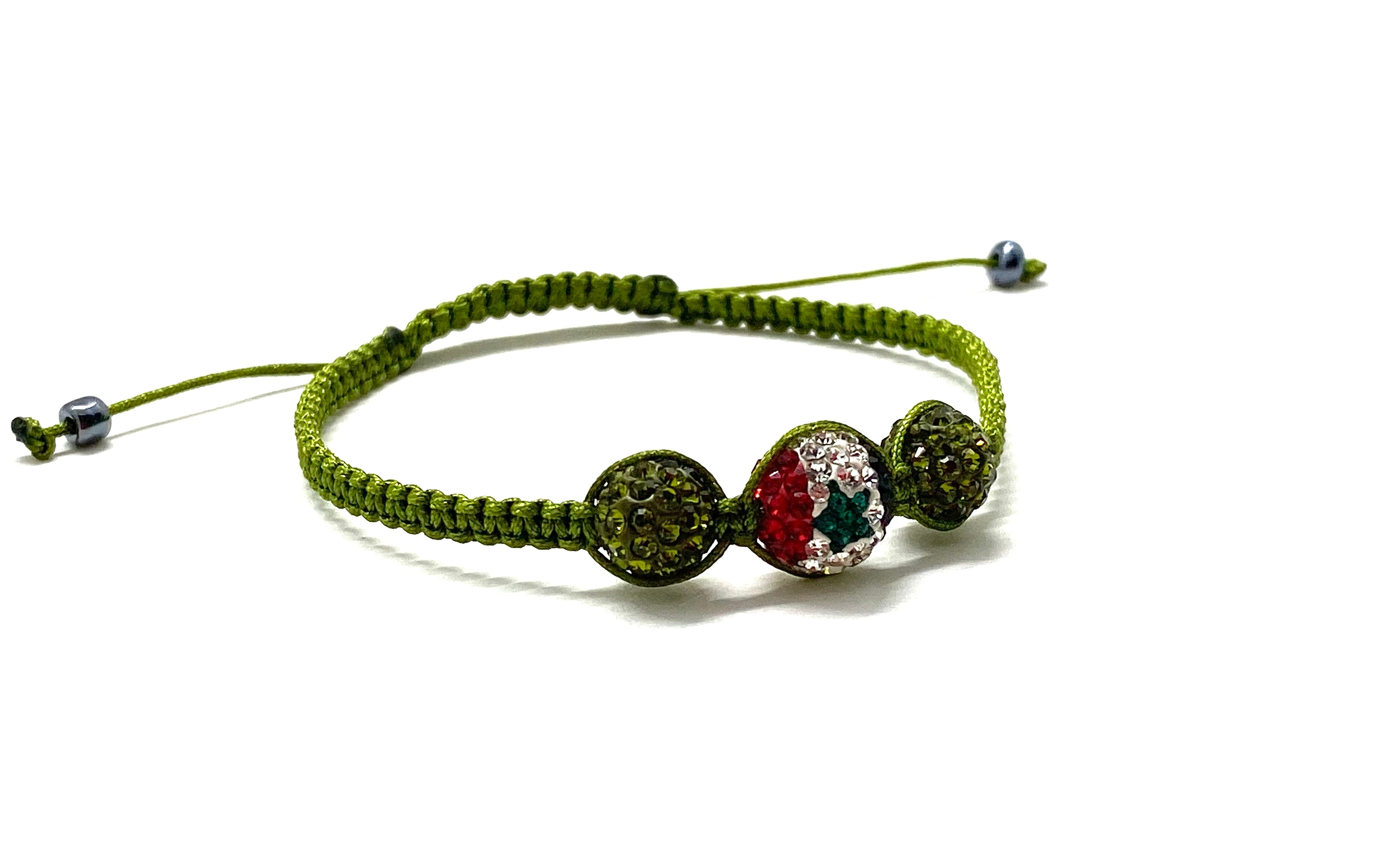 Syrian flag crystal bead, olive crystal beads and braided cord