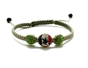 Syrian flag bead, with khaki crystal beads and braided cord