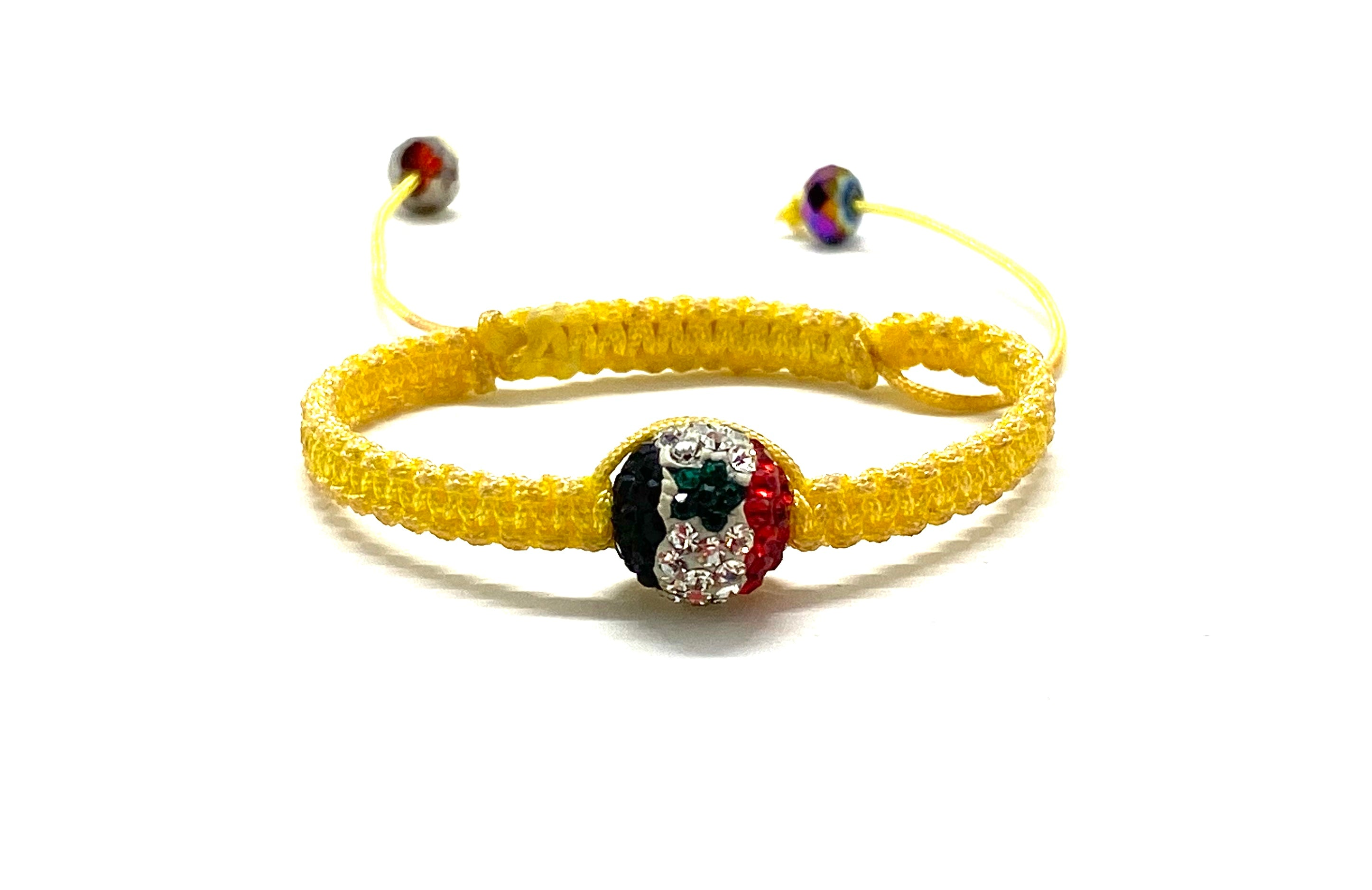 Baby Syrian flag crystal bead bracelet, yellow braided cord