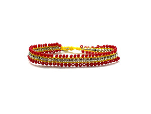 Beaded bracelet, red and light metallic green sequence