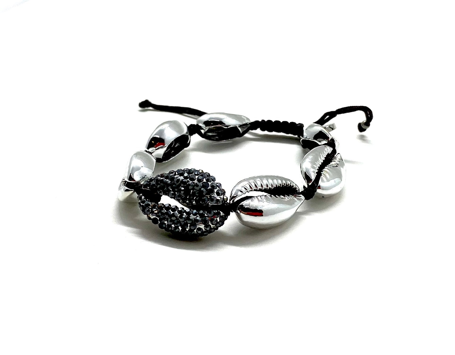 Silver shell bracelet, with hematite Swarovski studded central shell, and black cord