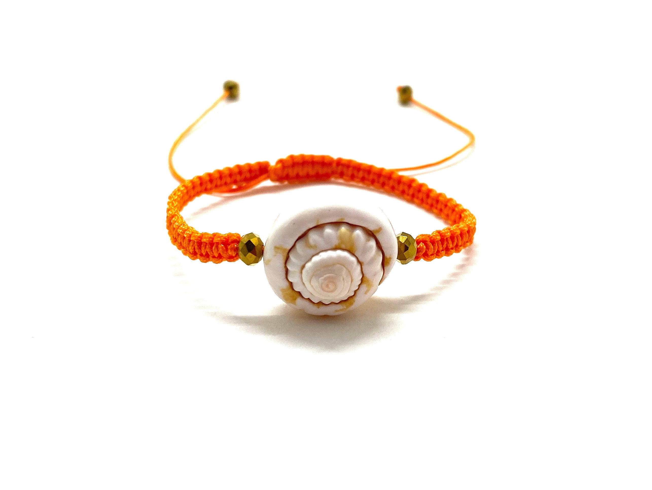Seashell bracelet, gold Swarovski beads and orange braided cord