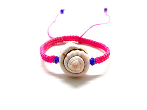 Baby bracelet seashell with purple Swarovski bead and pink fluo braided cord
