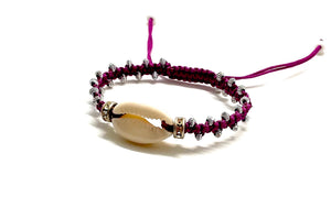 Natural shell bracelet crystal loops and silver toupee beads on prune cord
