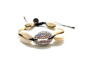 Natural shell bracelet, with Swarovski studded central shell, black cord
