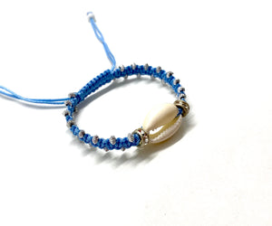 Natural shell bracelet, baby blue cord and gold toupee