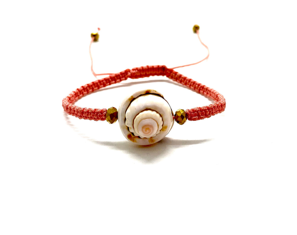 Sea shell bracelet with gold Swarovski bead and salmon cord