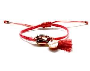 Rose gold shell bracelet with salmon Miyuki beads, cord and tassel
