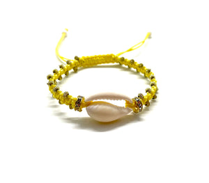 Natural shell yellow cord with gold resin beads