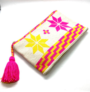 Rose and yellow flowers clutch with off white body
