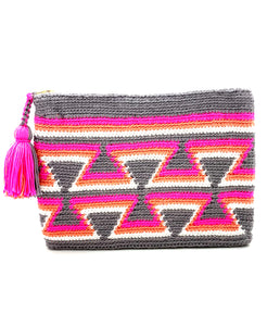 Clutch with grey body, grey inverted triangles, fluo pink, orange, and white sequence, and tassel
