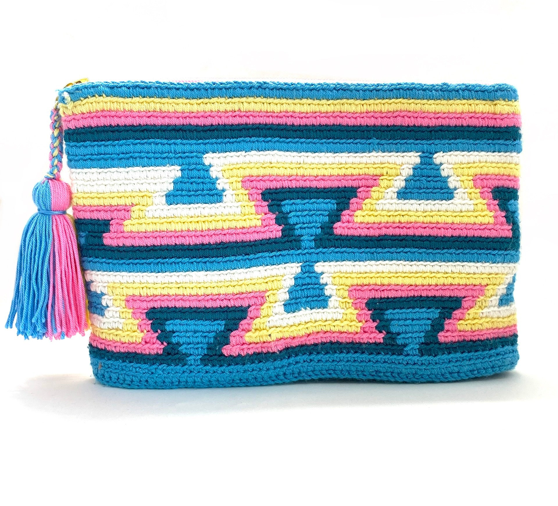 Clutch sky blue body, blue inverted triangles, navy blue, pink, yellow, white, and tassel.