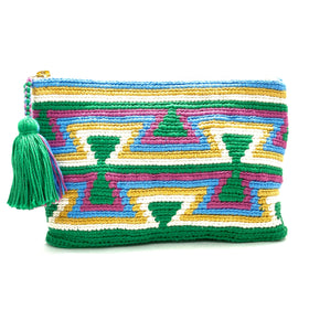 Green body clutch, green inverted triangles, white, yellow, blue, purple sequence, and tassel.