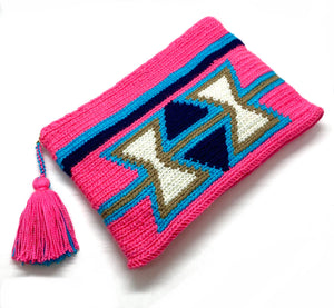 fluo coral body clutch, inverted off white triangles,  blue sequence, with tassel