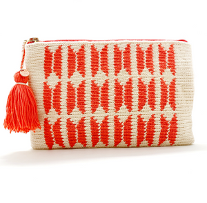 Clutch with off white body, coral butterfly pattern and a tassel