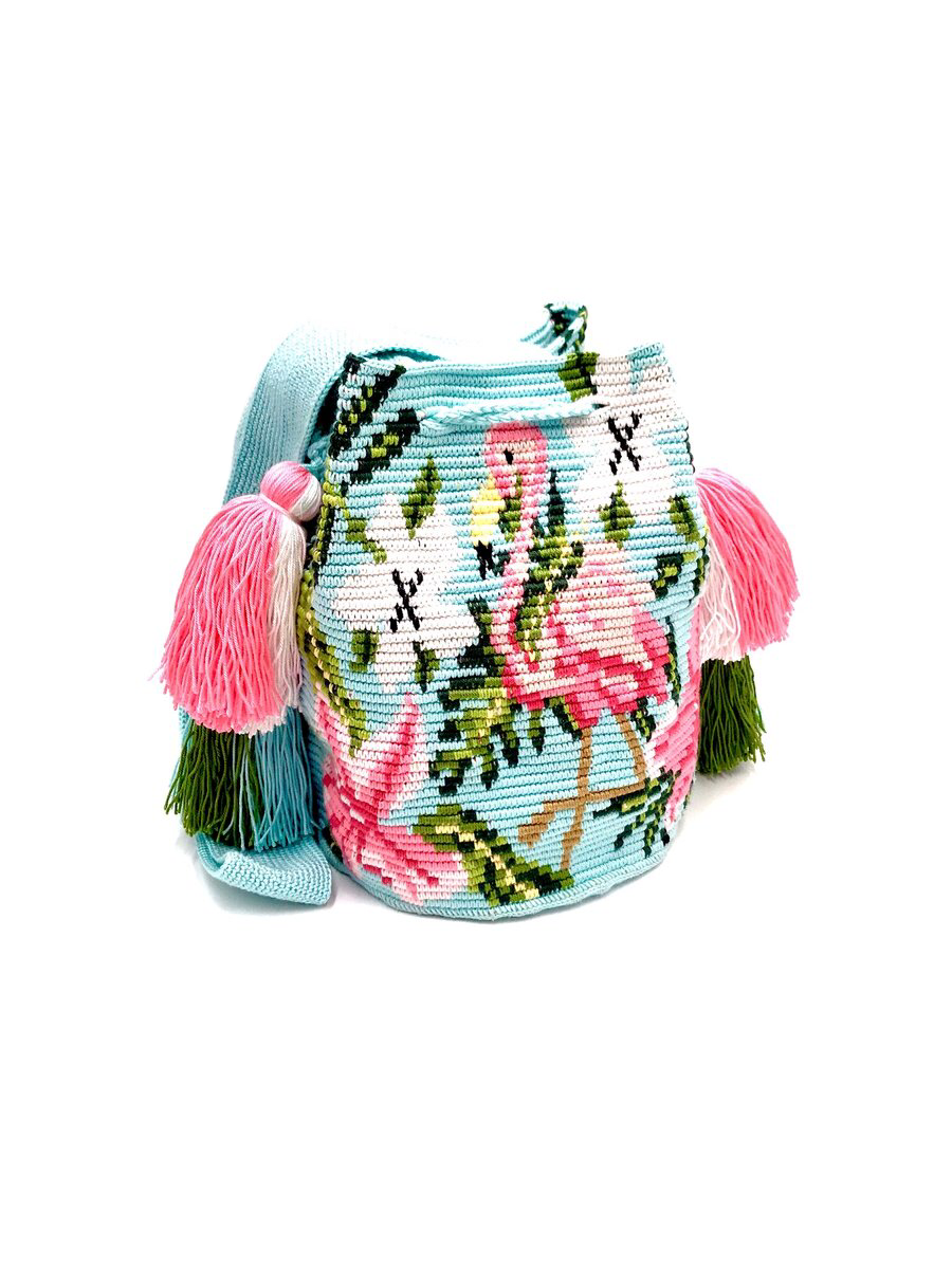 Flamingo bag, turquoise body, beautiful pink fuchsia Flamingo, with 4 tassels.
