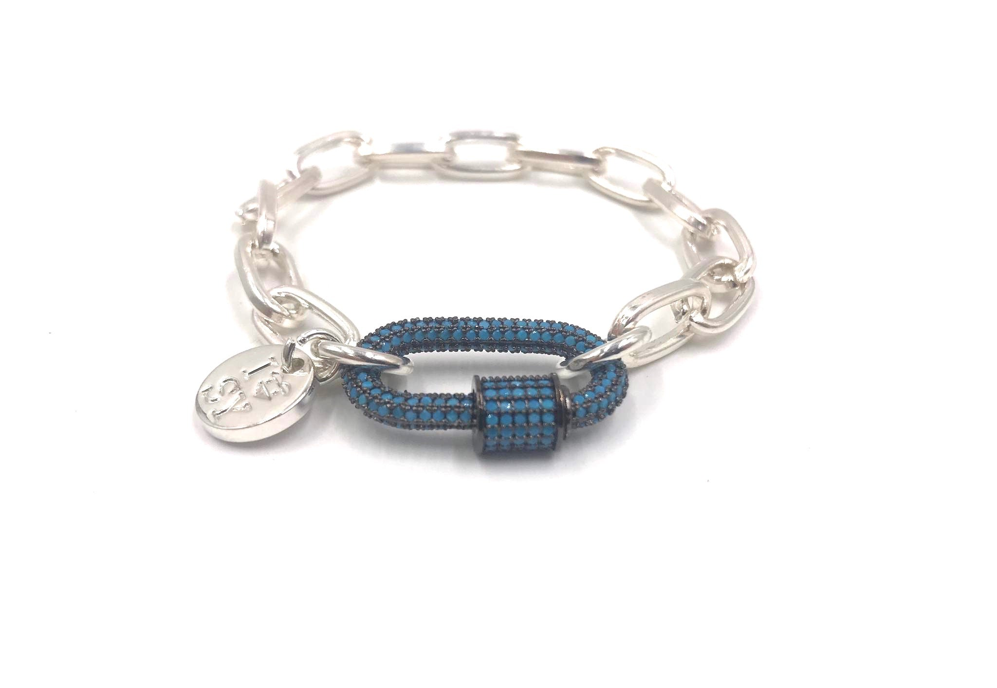Silver chain turquoise studded hardware link.