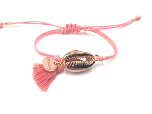 Pink Gold Shell bracelet, salmon Miyuki beads and tassel.