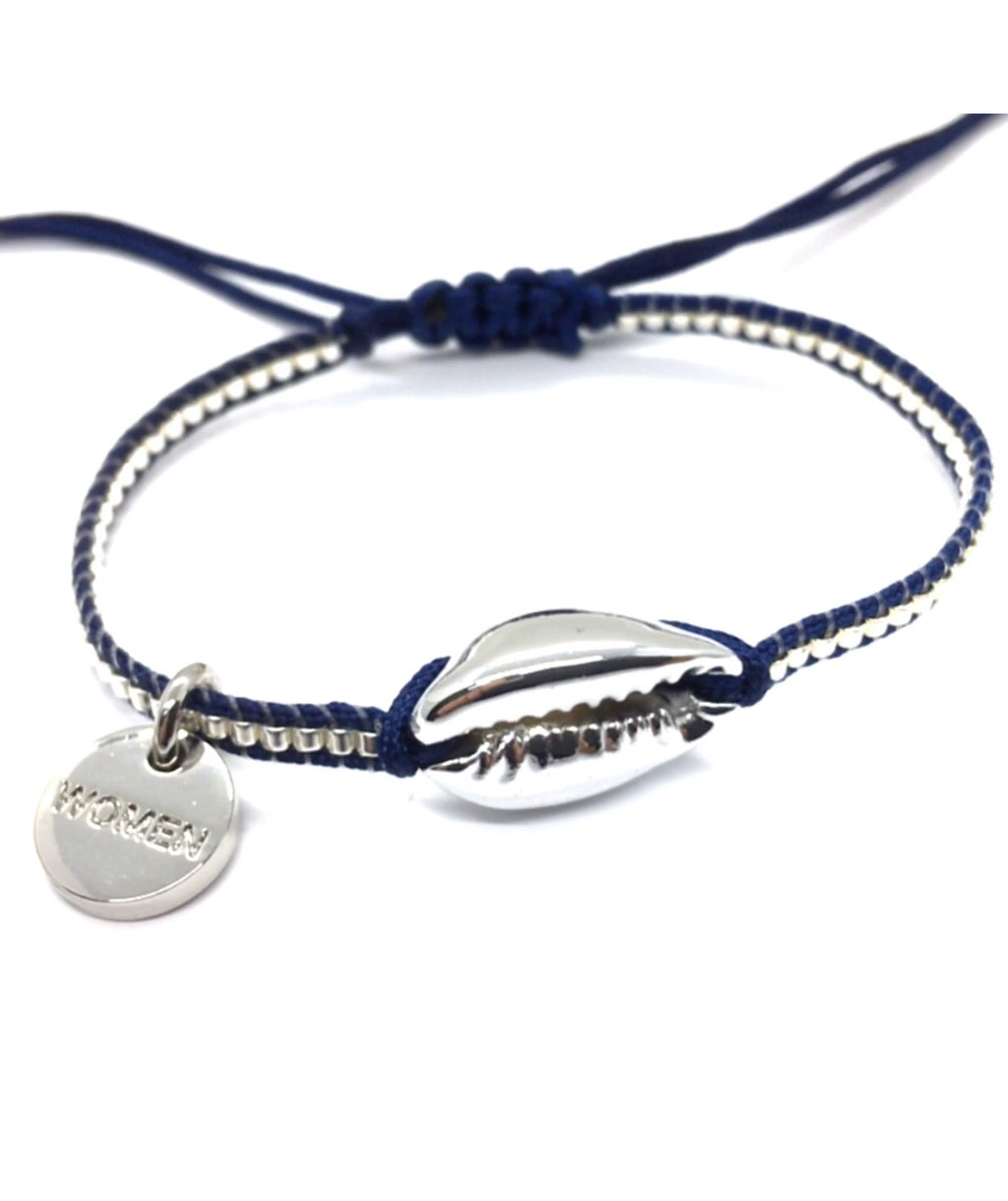 Silver shell bracelet, with silver Miyuki beads, and dark blue cord