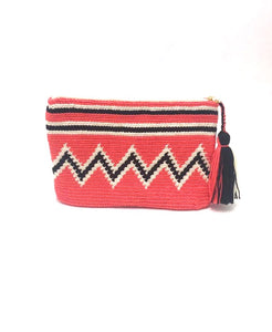 Clutch, Coral body black and white sequence pattern with tassel.