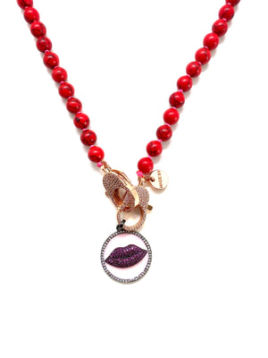 Red stone Gaia necklace, red lips pendant, gold zirconia clips
