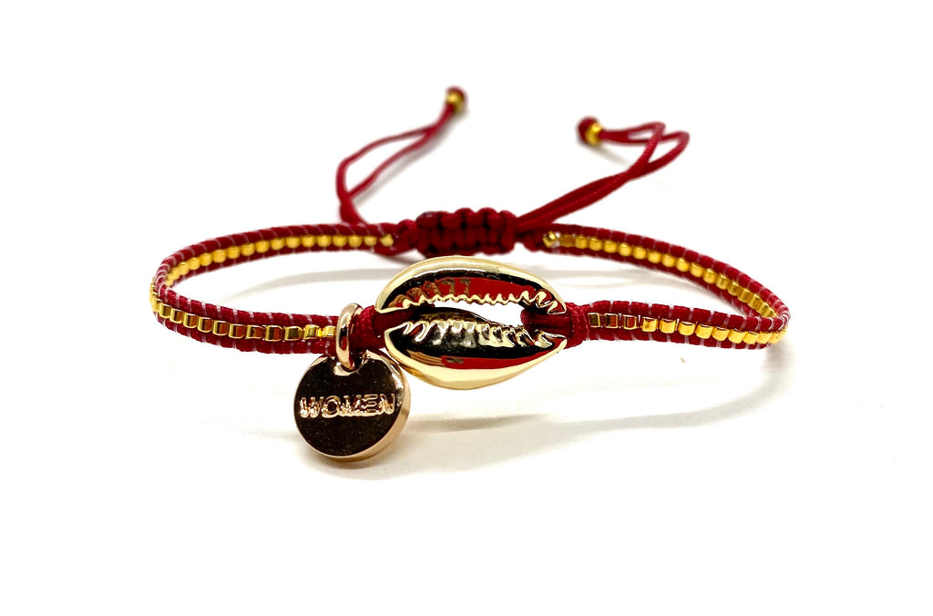 Natural gold shell bracelet, with gold Miyuki beads and burgundy cord