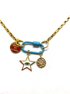 Blue hardware link gold necklace with white star pendant