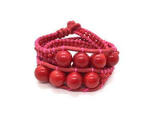 I love Syria - Triple Wrap around - big red stone - red cord - pink thread