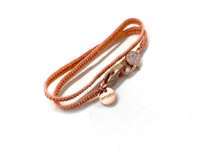 Salmon miyuki bracelet, rose gold sequence and clips