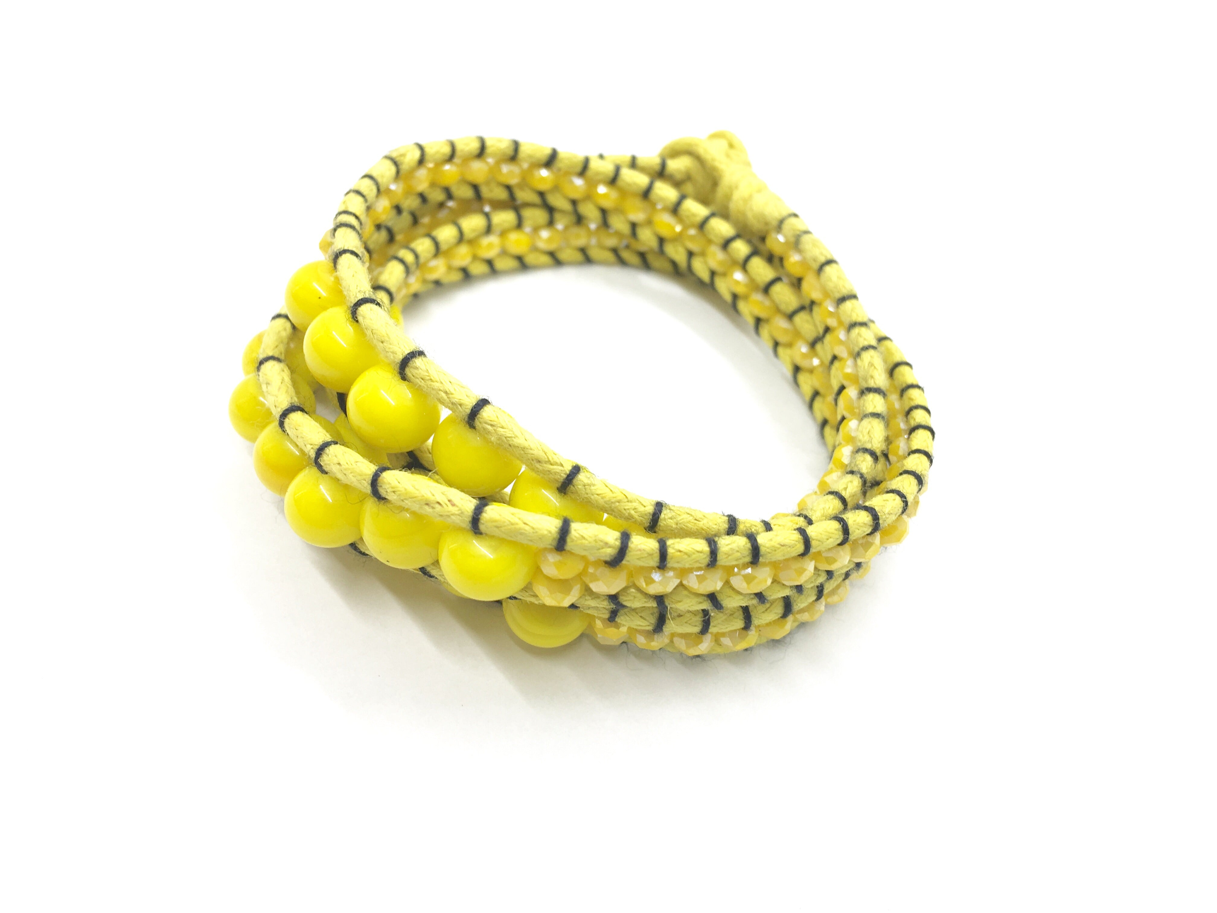 I love Syria -Triple Wrap around - yellow stone - yellow cord - black thread