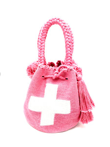 Swiss flag bag, pink body