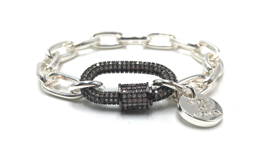 Clip2Impact Silver chain bracelet with black zirconia clip.