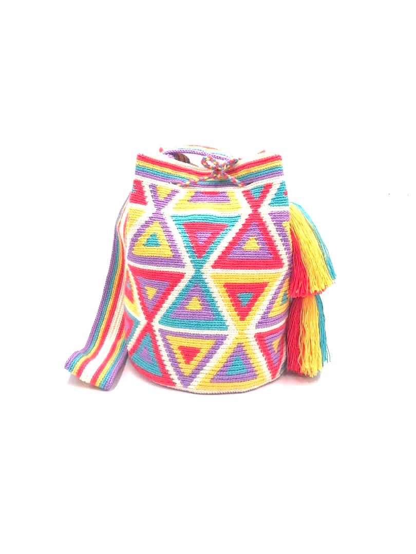 Pastel triangle bag, off white body, pastel color triangles with strap and 2 tassels.