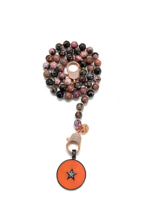 Lace rhodonite Gaia necklace, round orange pendant, rose gold zirconia clips