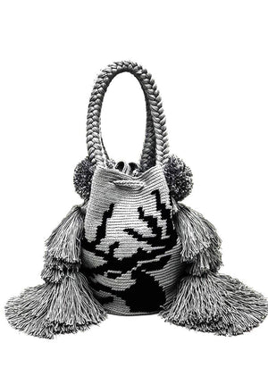 Deer bag, hand made with triple tassel and pompoms