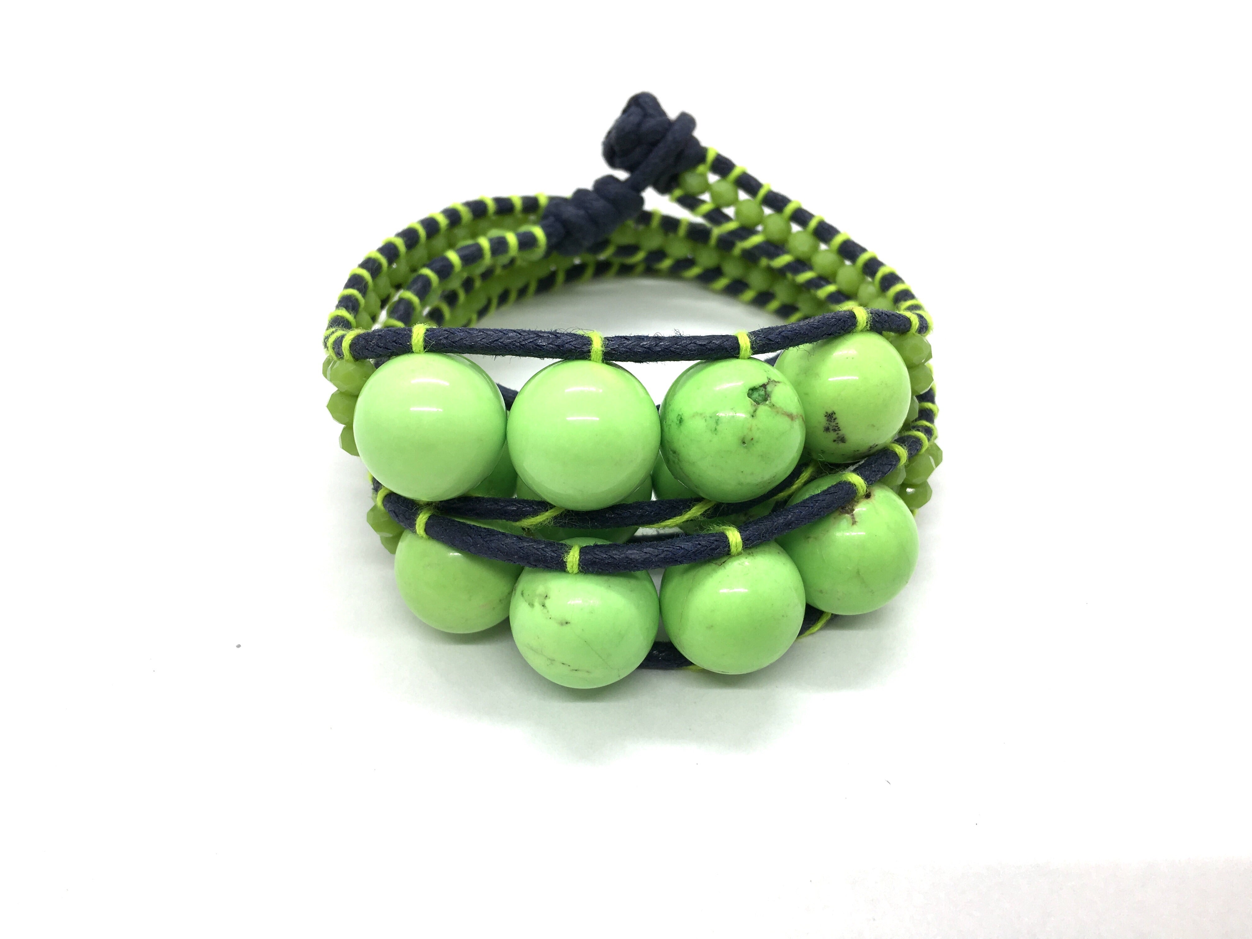 I love Syria - Triple Wrap around - big green stone - black cord - green thread